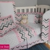 Pink & Grey Chevron/Dots Full Cot Set