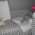 Grey/White Chevron with Pink Accents