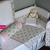 Cot Set in Stone/White/Pink