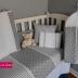 Grey & White Polka Dot, Stripes & Star Print Cot Set