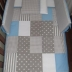 Grey/White & Blue Patchwork Cot Set