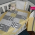 Patchwork Cot Set in Grey/White/Yellow