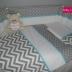 Grey & White Chevron/Polka Dot & Turquoise Cot Set