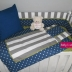 Grey/White/Navy with Lime Cot Set