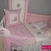 Pink/White Owls Cot Set