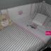 Grey/White & Pink Owl Cot Set