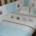 Jungle Babies Cot Set in Blue/White & Brown