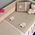 Beige/Pink Lamb Cot Set
