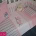 Pink & Grey Bird Themed Cot Set