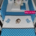 Turquoise/White & Brown Little Dinos Cot Set