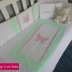 Butterfly Cot Set in Pink & Lime Green