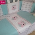 Owl Themed Cot Set in Grey, White & Mint with touches of Pink
