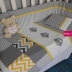 Grey, White & Yellow Owl Cot Set