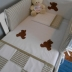 Teddy Bear Cot Set in Stone/White Patchwork