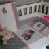 Grey, White & Pink Tatty Teddy Cot Set with matching Change Mat