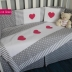 Grey & White with Cerise Pink Hearts Cot Set